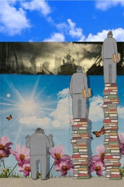 読書を沢山した人としていない人を表した風刺画