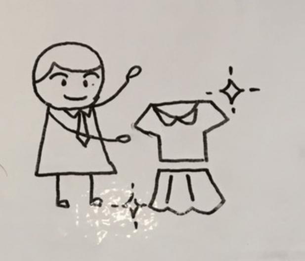 スタイリストが服を選んでいるイラスト