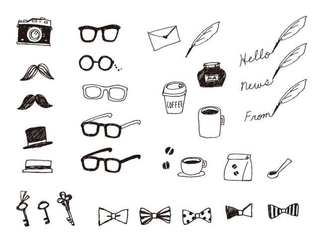 カメラやメガネ帽子コーヒーなどのイラスト