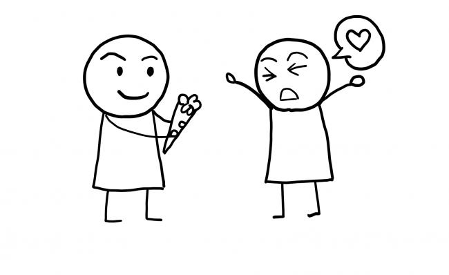 花束をあげてる人と受け取っている人のイラスト
