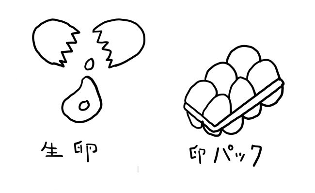 生卵と卵のパック