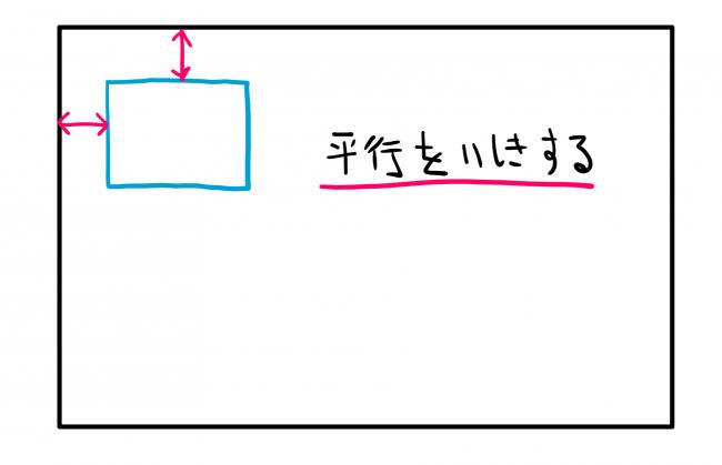 真っすぐな線を描くには平行を意識した方が良いことを説明したイラスト
