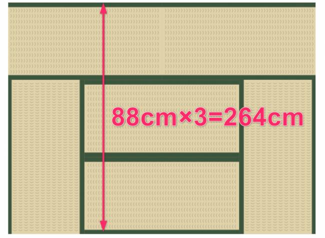 畳6畳の幅の長さは264cm