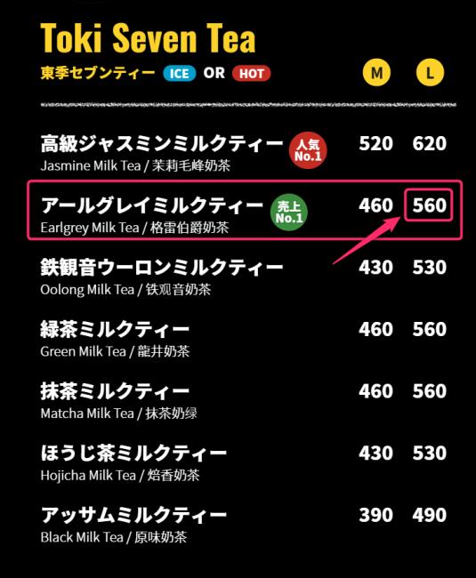 タピオカ専門店「トキセブンティー」のメニュー表