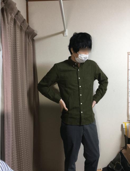 無印良品の新疆綿フランネルボタンダウンシャツ、カラー、カーキグリーン