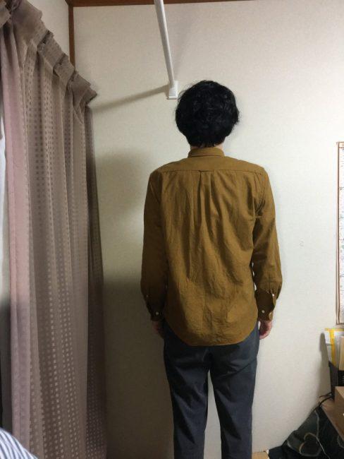 無印良品の新疆綿フランネルボタンダウンシャツのLサイズ着用画像
